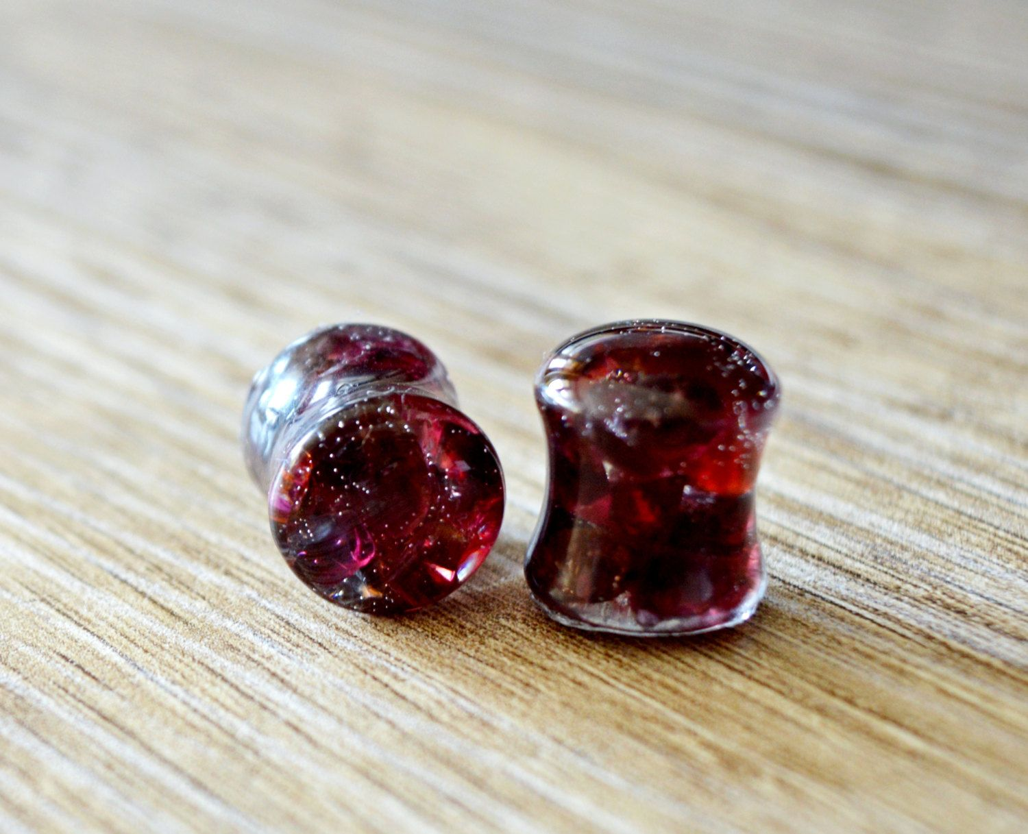 Garnet stone Ears plugs-Double flared or one flared Stainless steel gauges