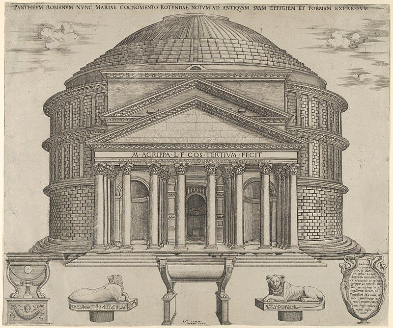 Elevation Of The Pantheon In Rome, Reconstructed To Its