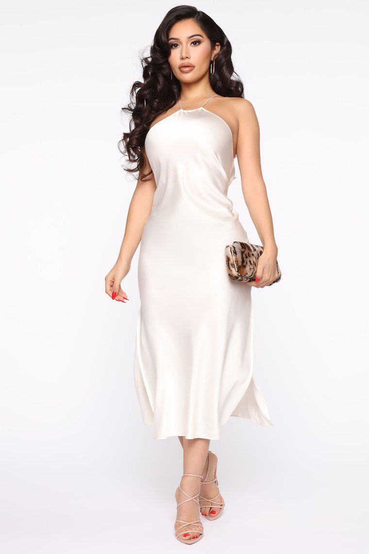 Big Dreams Satin Maxi Dress Ivory in 2020 Dresses