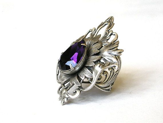 Large Purple Ring Gothic Jewelry Statement Silver Ring
