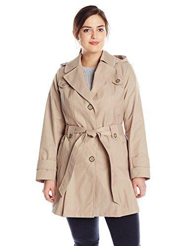 Via Spiga Womens Single-Breasted Pleated Trench Coat