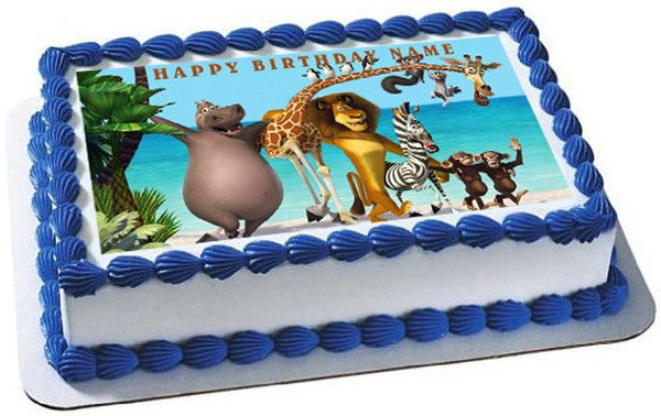Enjoyable Madagascar Edible Birthday Cake Topper Or Cupcake Topper Decor Birthday Cards Printable Benkemecafe Filternl