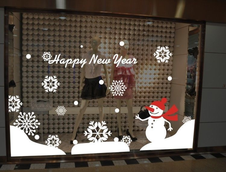 Christmas happy new year snowman snowflakes store window showcase wall sticker holiday