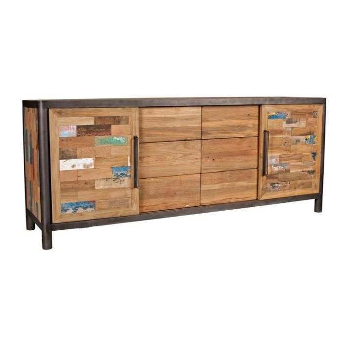 Buffet 2 Portes Coulissantes 6 Tiroirs Modernity Bois Recycle Buffet Bois Porte Coulissante