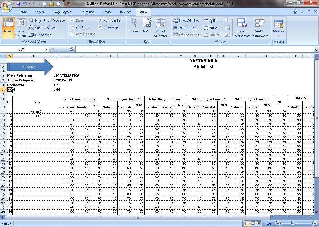 Xls Otomatis Software Daftar Nilai Sma Ktsp Aplikasi Excel Free