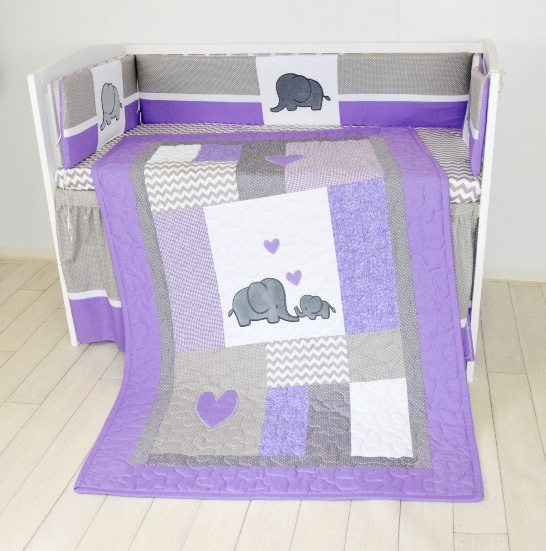 Best Crib Blanket Elephant Baby Boy Bedding Gray Purple Quilt Chevron Nursery Baby Bed Purple 640 x 480