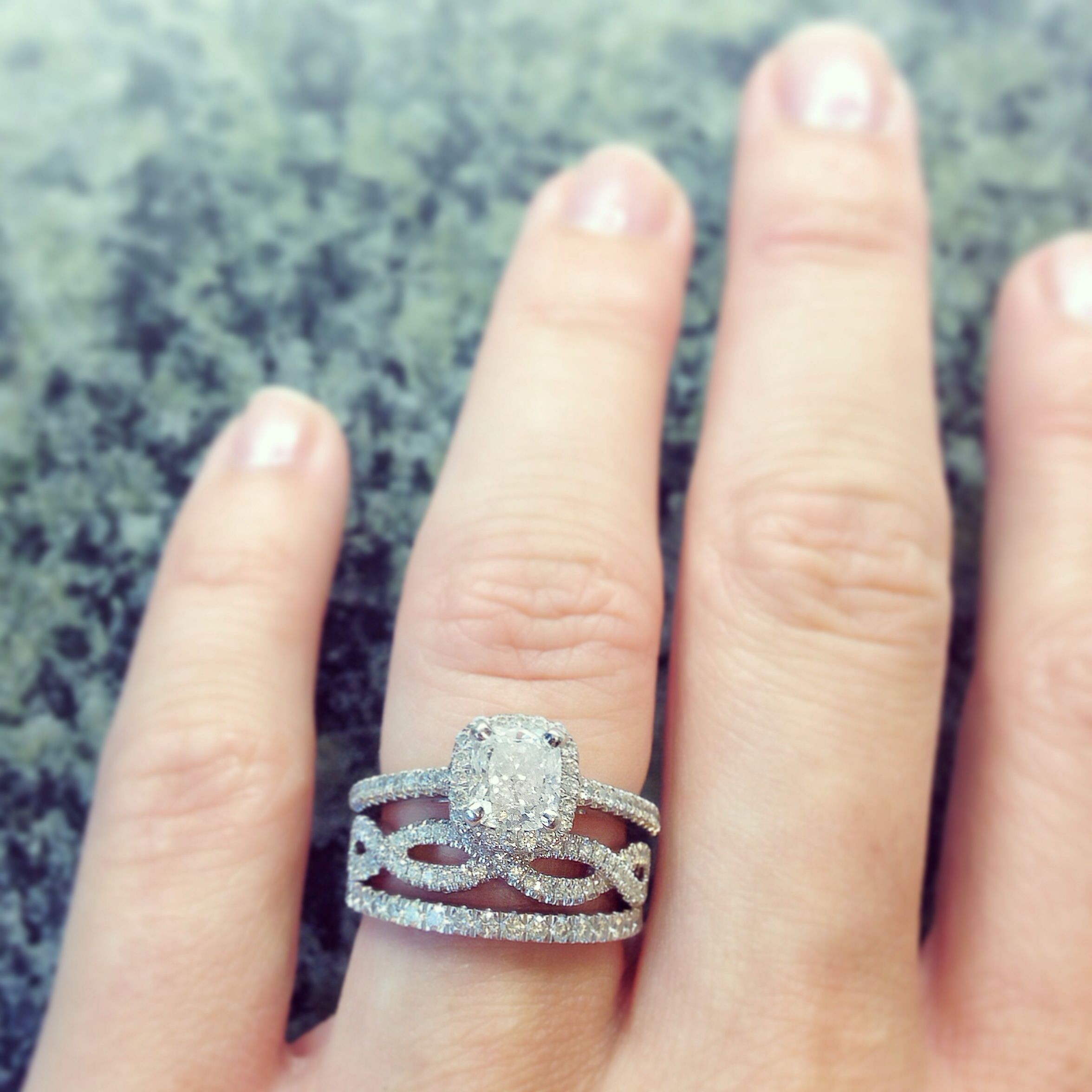 My 1 ct Cushion Cut in a Halo setting Infinity Twist Micropavé