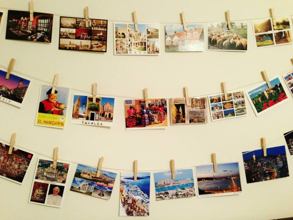 Hanging postcards with clothespins