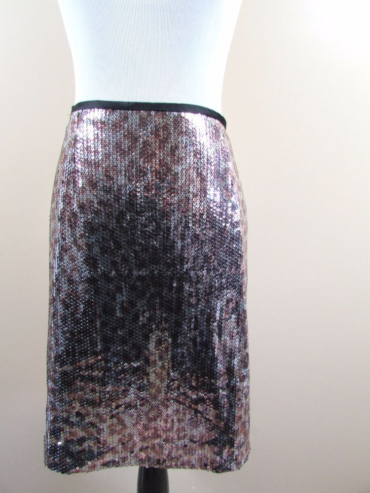 e936df46b65 Nanette Lepore Leopard Animal Print Sequin Pencil Skirt Size 4   NanetteLepore  StraightPencil  Cocktail