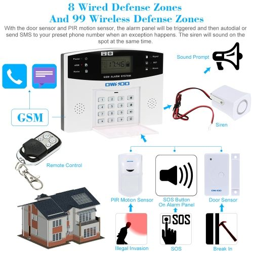 OWSOO GSM Wireless Home House Burglar Security Alarm System SMS - installer une alarme maison