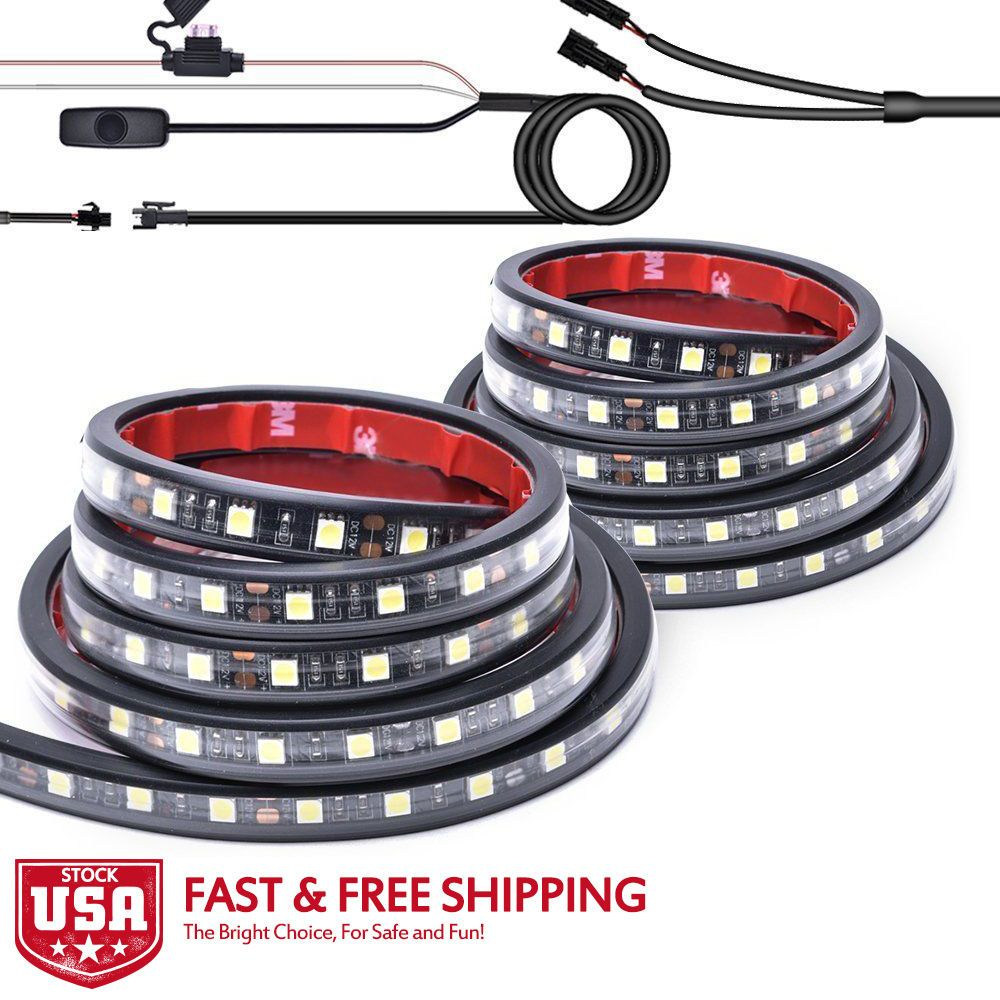 "MICTUNING 2Pcs 60"" White LED Cargo Truck Bed Light Strip"
