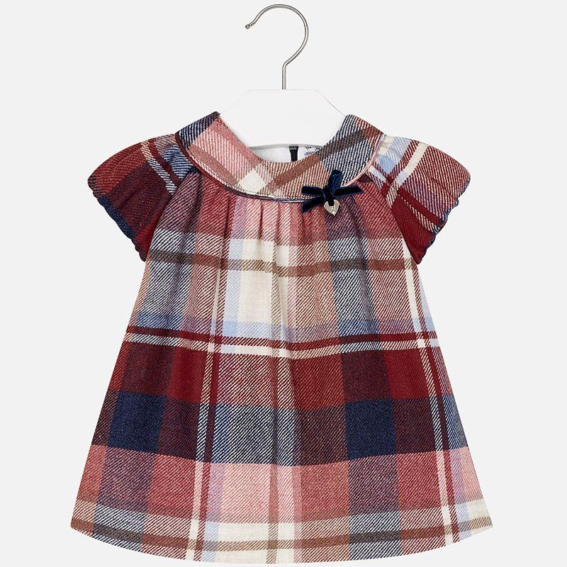 e43fa8d74 Vestido a cuadros en franela de manga corta para bebé niña Rojo ...