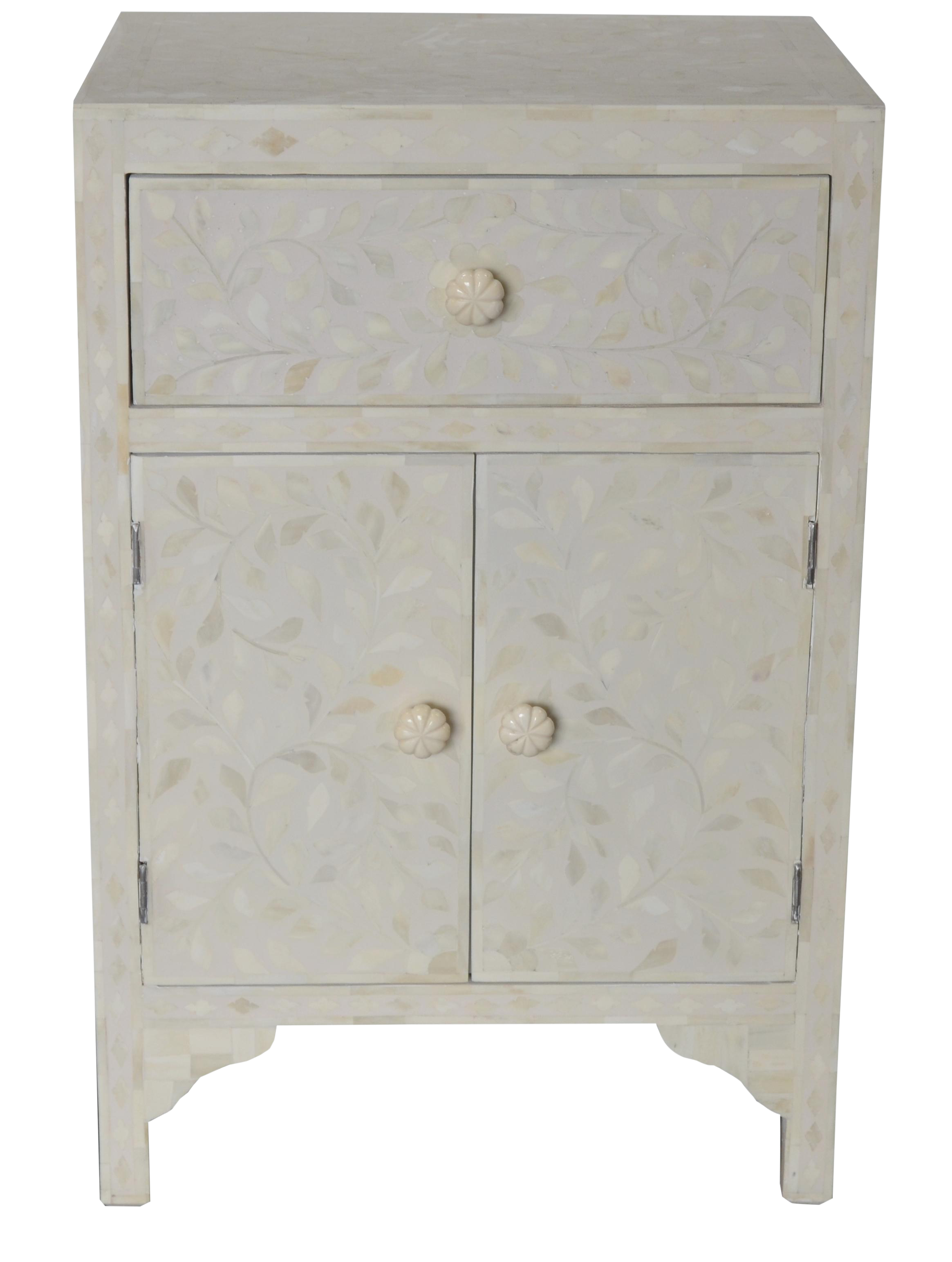 Moroccan Inspired White Bone Side Table
