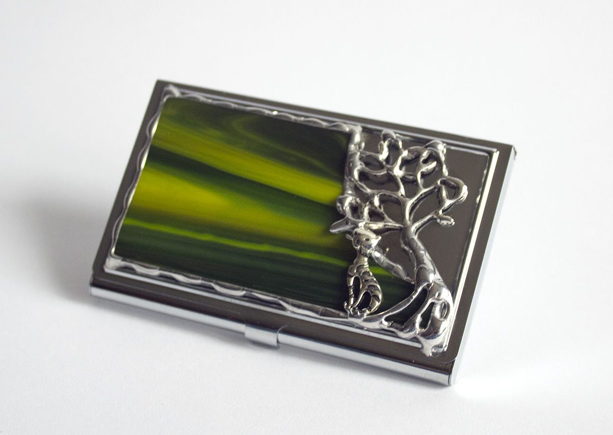 Business card holder decorated with stained glass and tin | Business ...