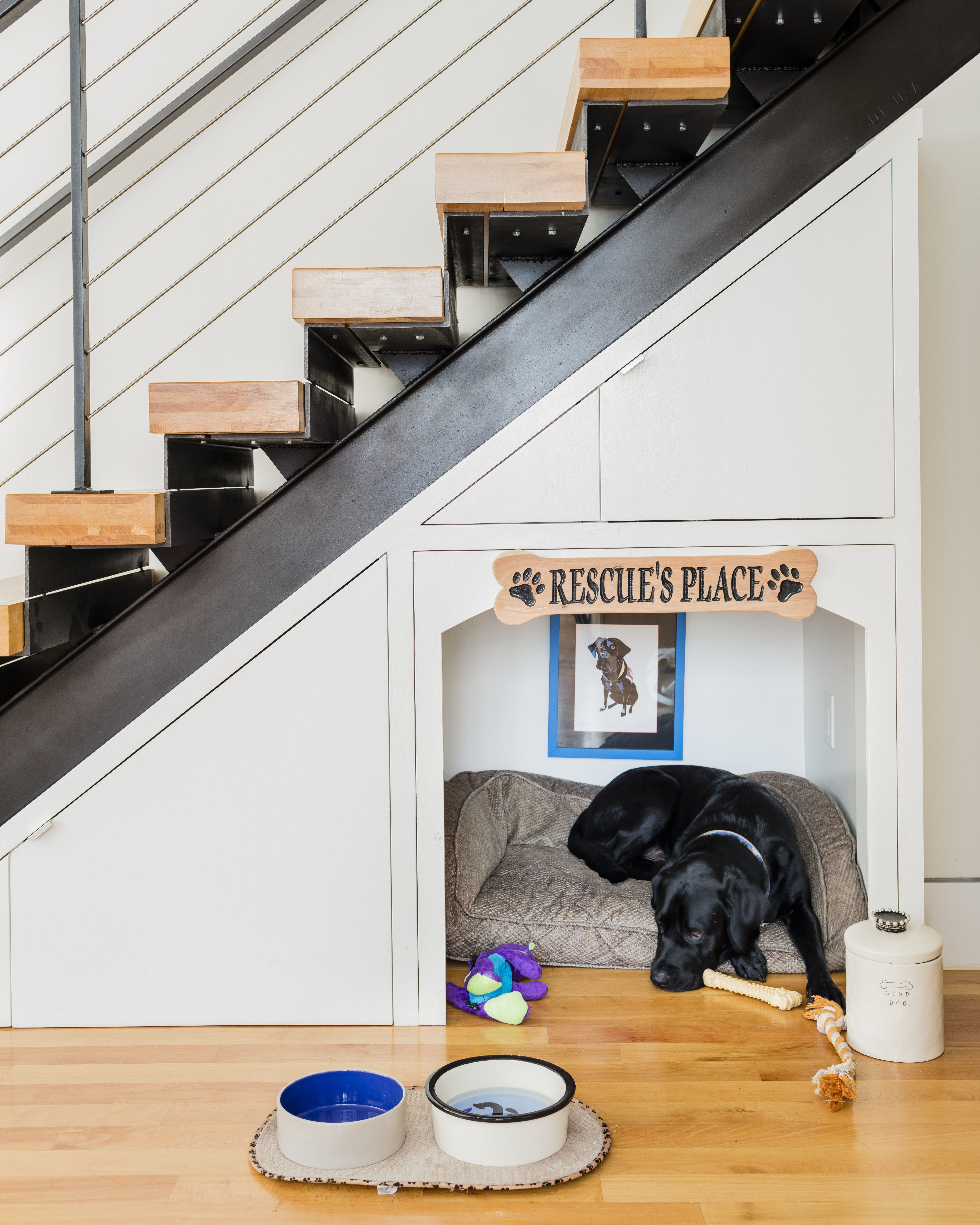 Modern Metal And Wood Stair Construction Built In Nook Under