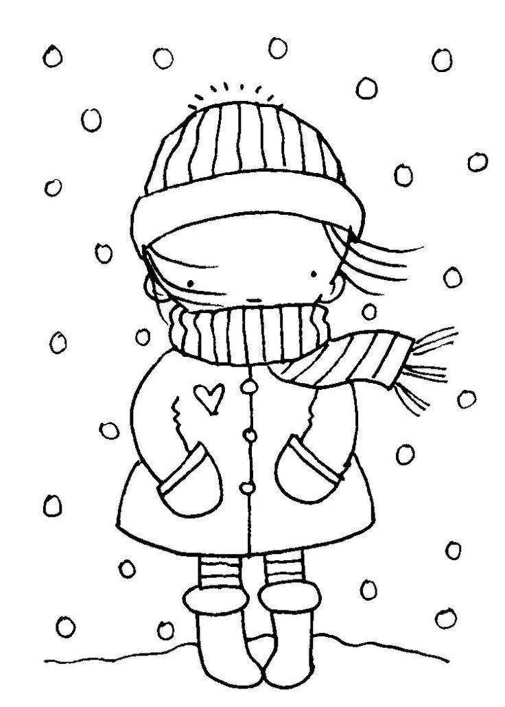 Pretty Girl January Winter Coloring Page  Coloring pages winter