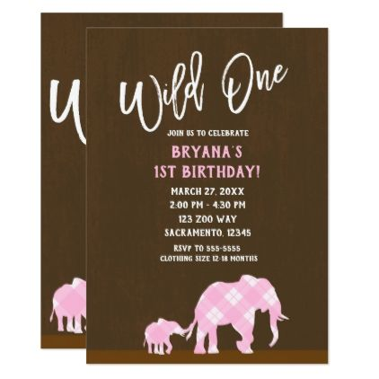 pink elephants brown modern wild one 1st birthday card pink