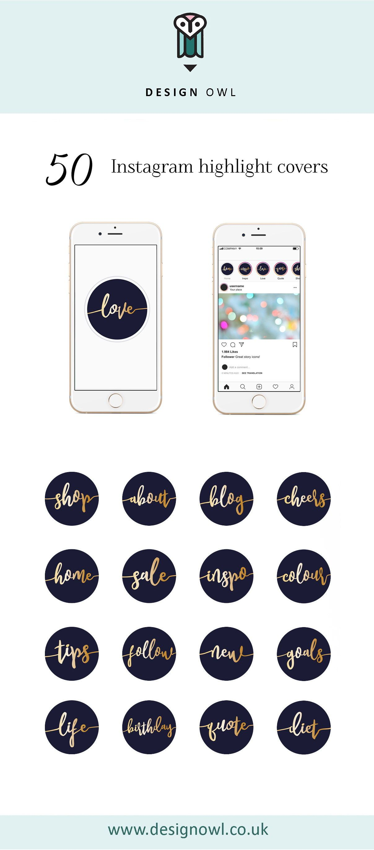 Instagram highlight covers Gold script on navy (With