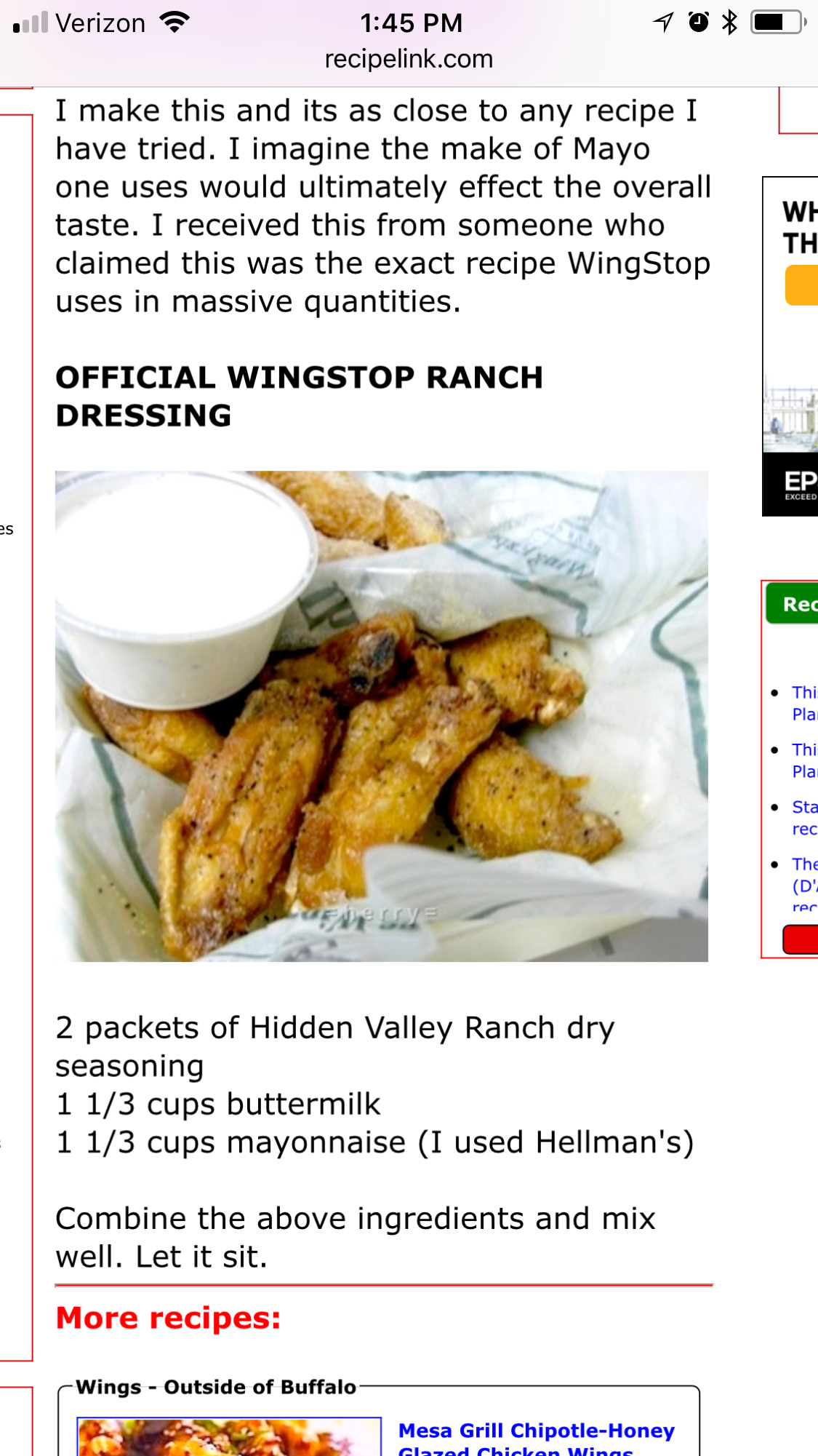 photo regarding Wingstop Printable Menu titled Wing Avoid Ranch Recipe Recipes within 2019 Wingstop ranch