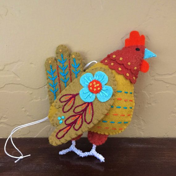 Embroidered felt bird: French Hen ornament  by mmmcrafts, 12 days series, reserved for Yvonne