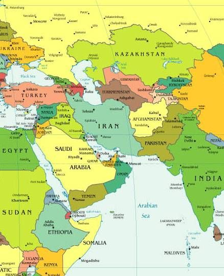 Middle East | Middle east map, South asia map, Asia map on map of world globe, map of north america globe, map of new zealand globe, map of middle east globe,