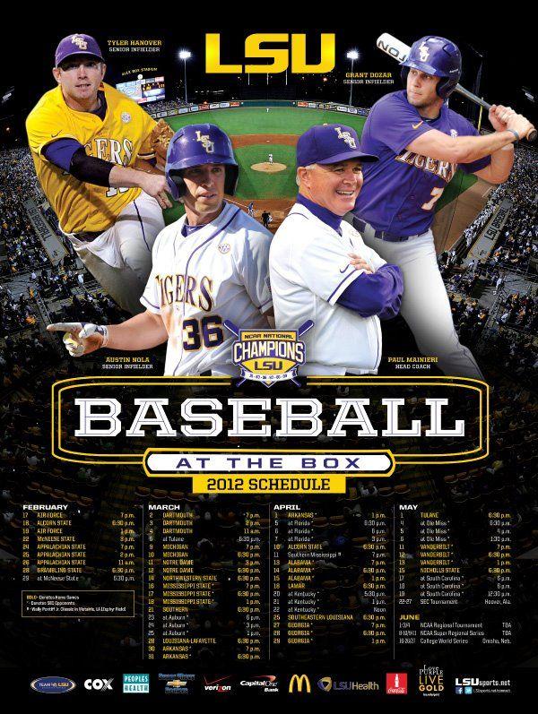 2012 LSU Baseball Poster featuring Head Coach Paul Mainieri
