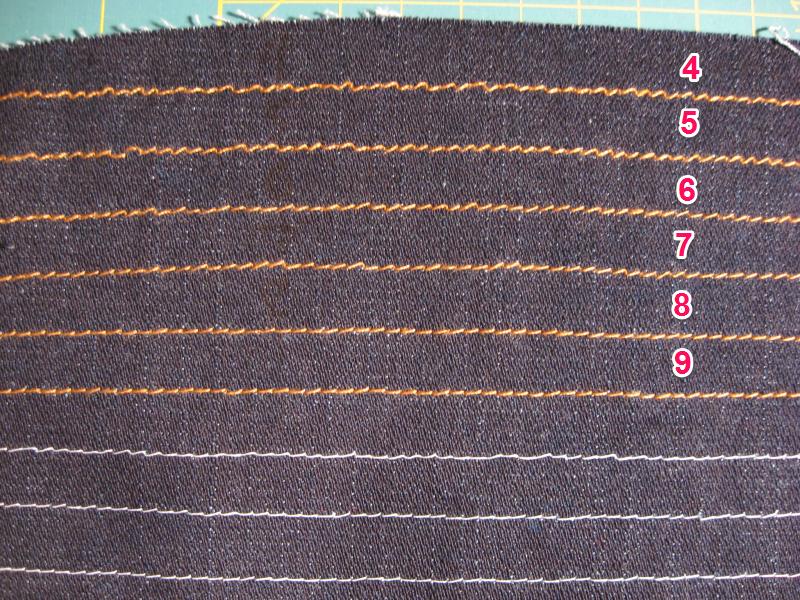 incrementar la tensión del hilo para coser vaqueros: dobladillos, topstitching.