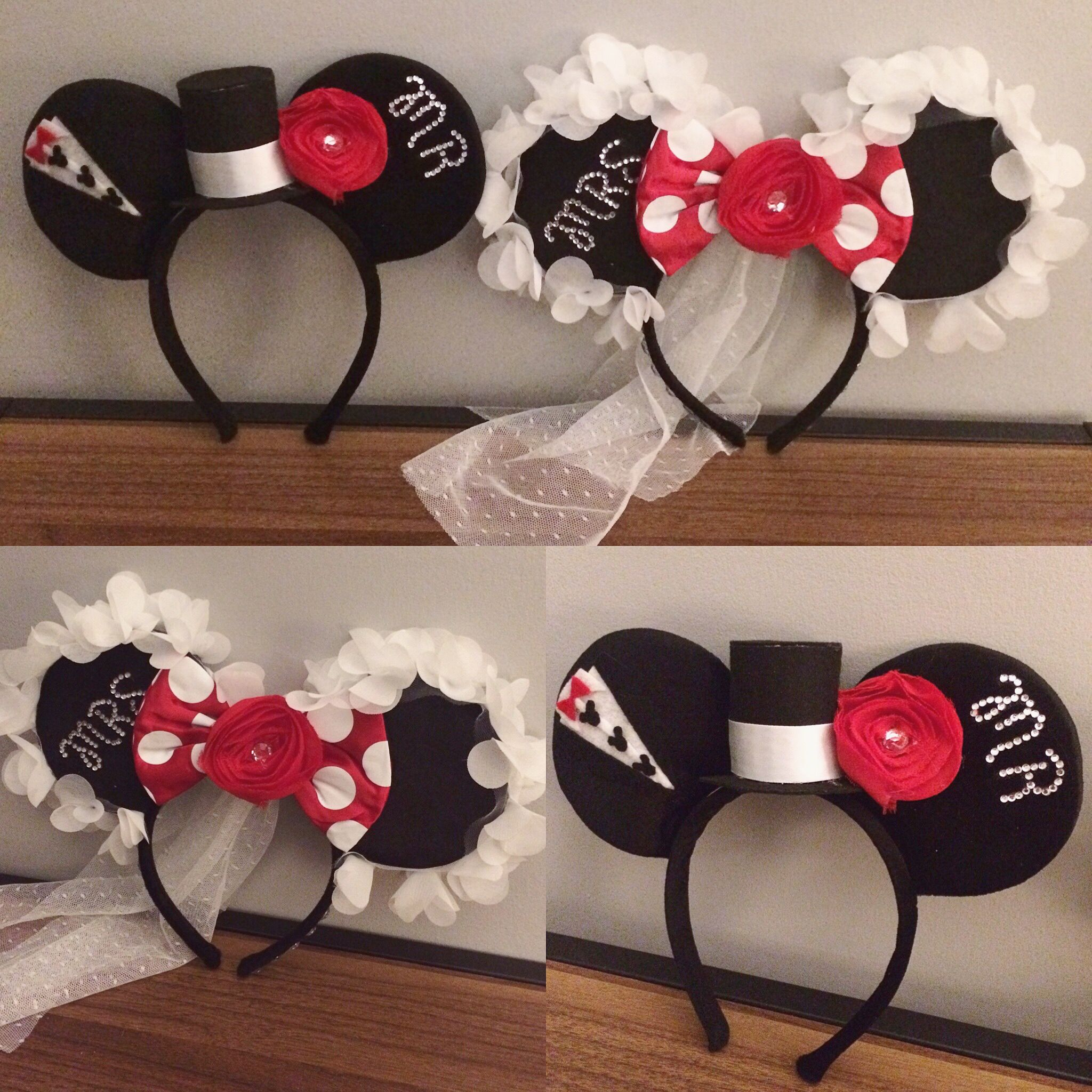 DIY Bride and Groom Mickey and Minnie Mouse Ears for Disneymoon - Created  by   kaylynnchartier  disney  mickey  minnie  mouseears  diy  disneyworld  ... 74d635e98cb