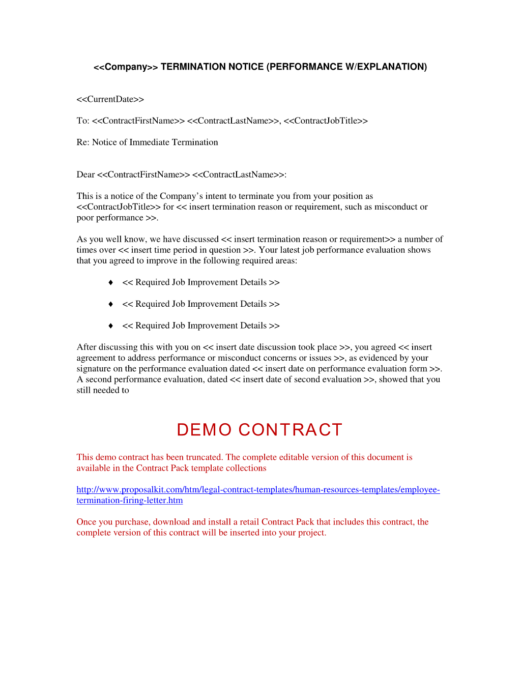 Employment Contract Termination Letter Free Printable Try