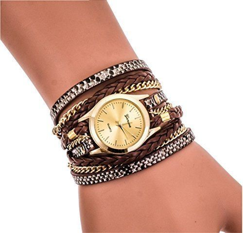 Ledhill Geneva Leopard Fashion Golden Chain Woven Strap Bangle Wrist Watch BROWN ** Check out the image by visiting the link.