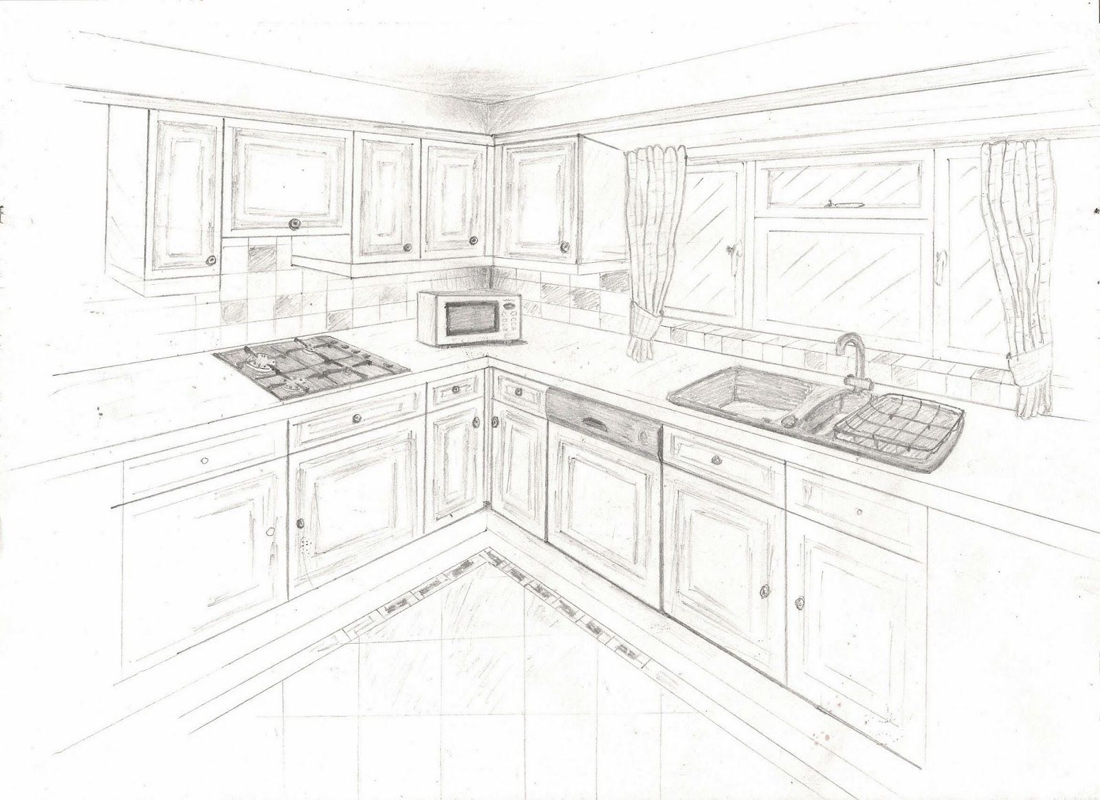 Image Result For 2 Point Perspective Kitchen Sketches Two Point
