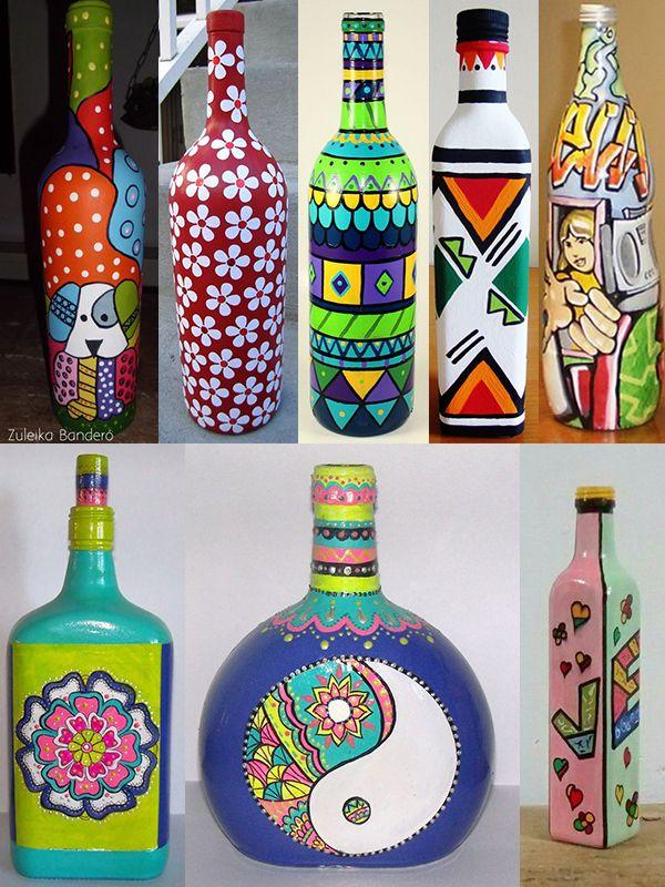 Inspiração de DIY garrafas estilo pop art para decorar