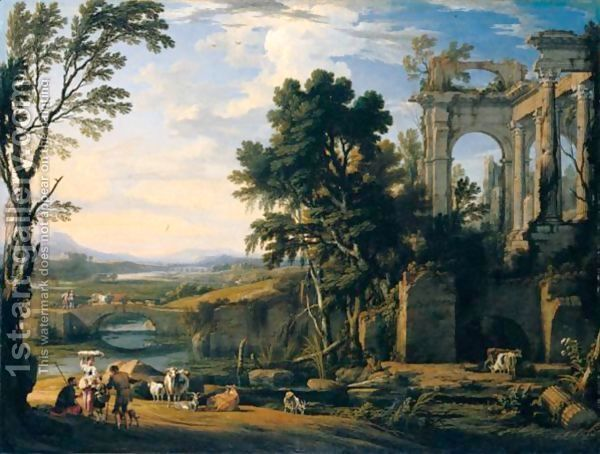 A Classical Landscape With Drovers And Animals Resting On The Banks Of A River Before A Set Of Ruins 18th Century Paintings Landscape Scenery