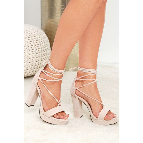 5271b8f1487 Lulus I Slay Nude Suede Lace-Up Platform Heels ( 43) ❤ liked on Polyvore  featuring shoes