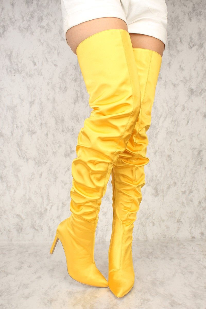5667328399b Sexy Yellow Pointy Close Toe Slouchy Thigh High Boots | All Gold ...