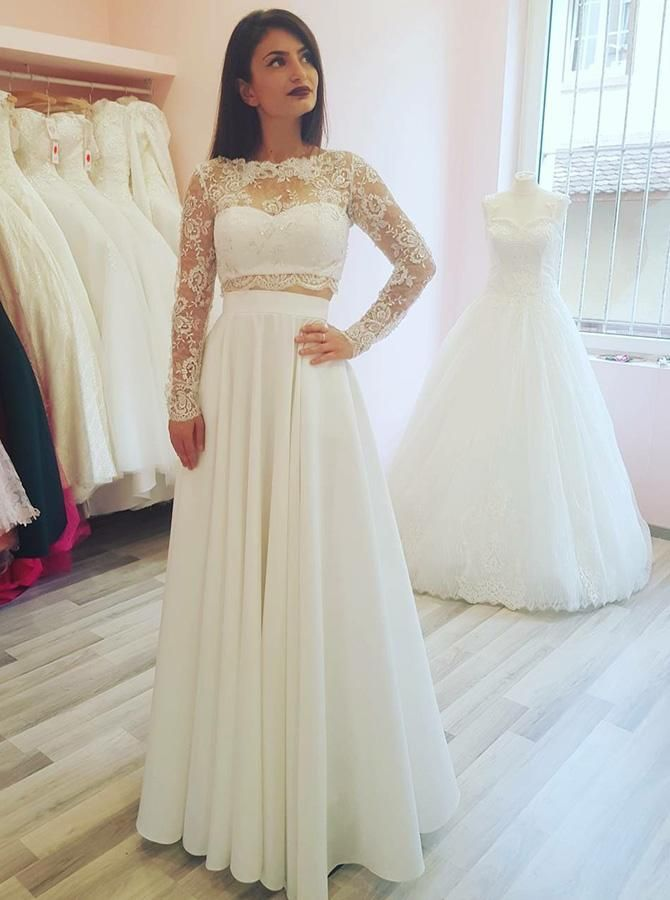 Two Piece Wedding Dresses Wedding Dress With Sleeves Long Wedding