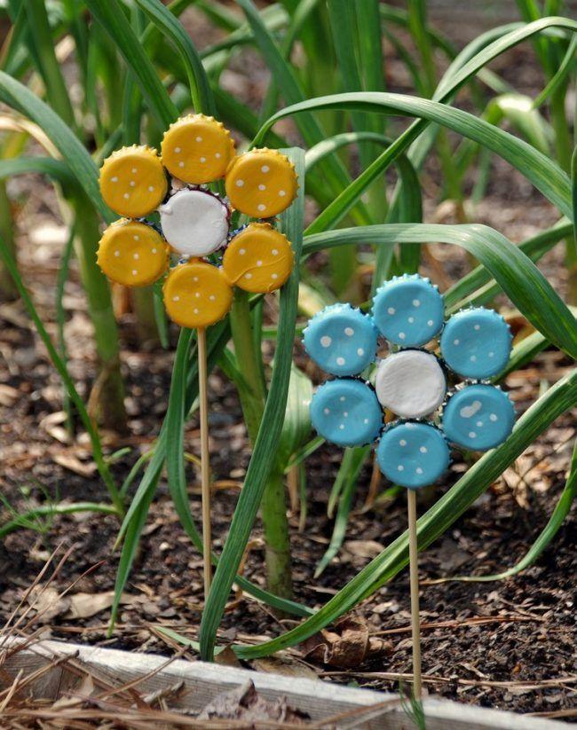 basteln-kronkorken-garten-deko-ideen Basteln Pinterest
