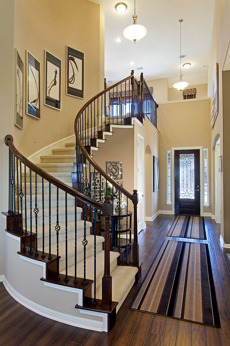 Curved Staircase With Wrought Iron Spindles Curved