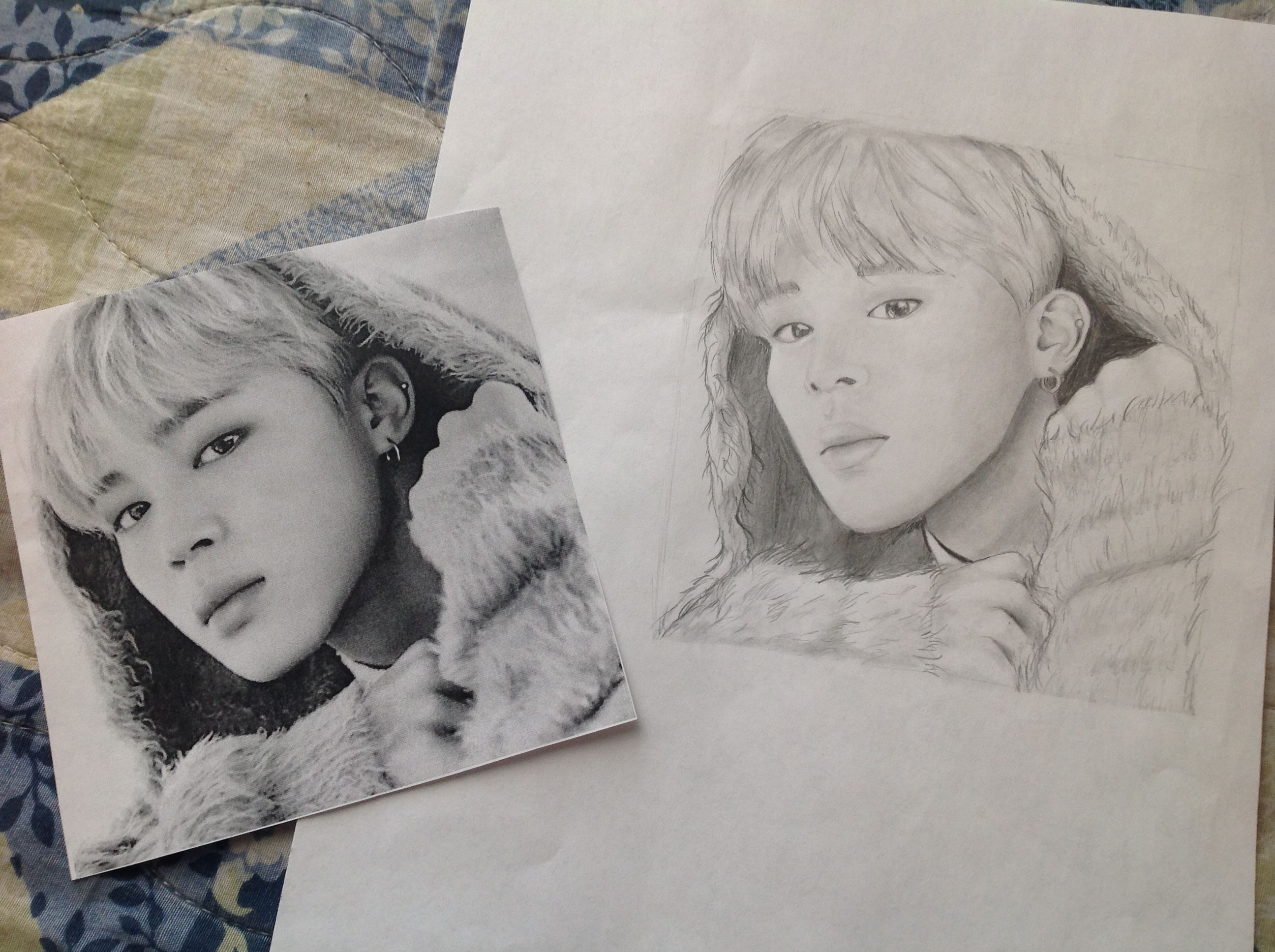 Free Drawing Of Bts Member Jimin Used A 2b Pencil And A Blender