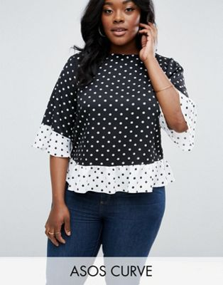 72a23d213e3 ASOS CURVE T-Shirt In Mix and Match Mono Spot