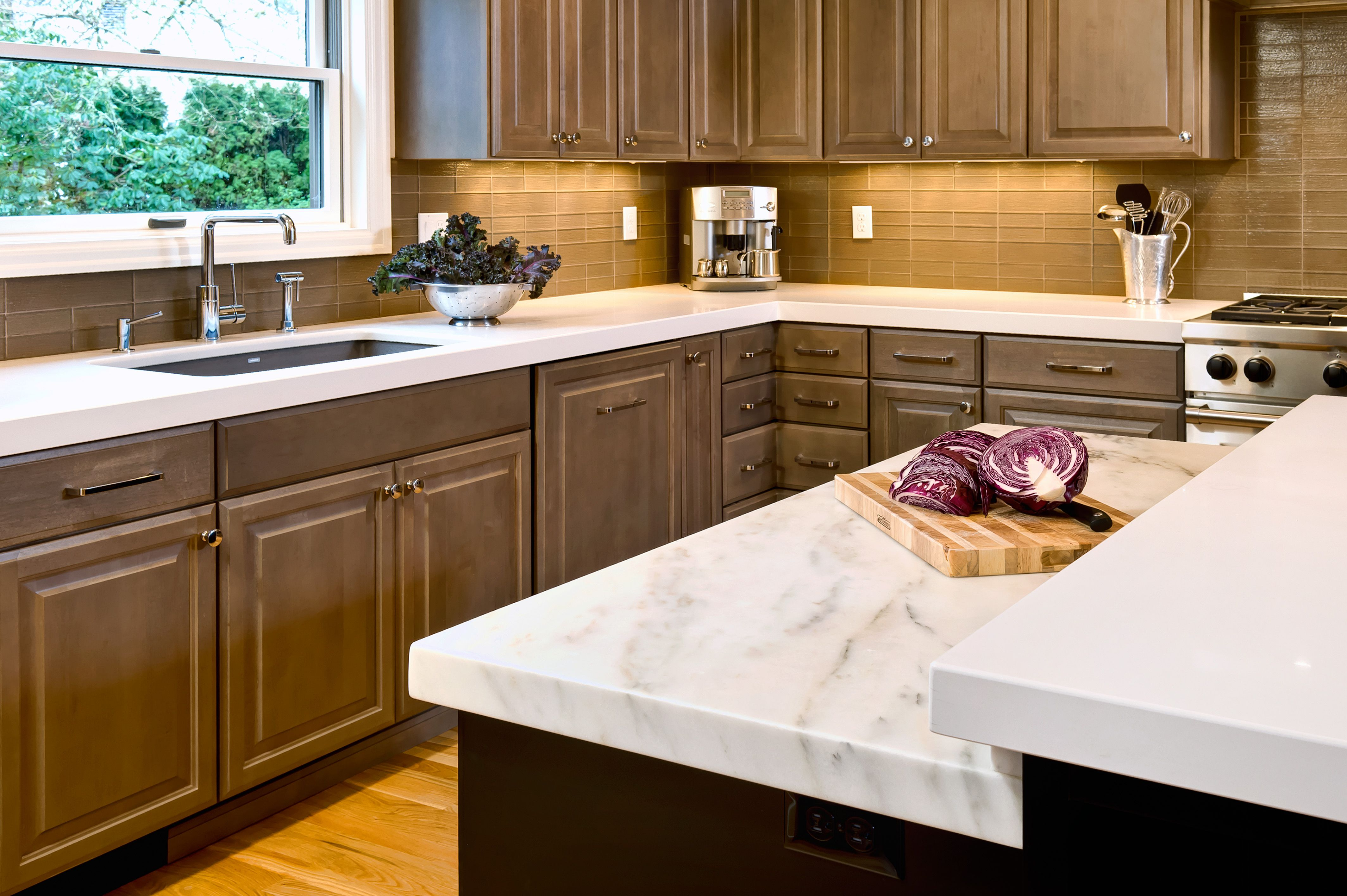 Kitchen i designed caesarstone counters marble for Silgranit countertops