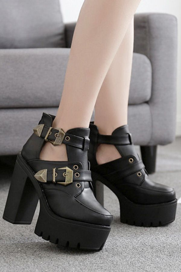 49621f64ad6c7 #WithChic #chicoftheday, Simple Cheap Chic, Shop Black Cutout Buckle Strap  Platform Chunky High Heel Ankle Booties online.
