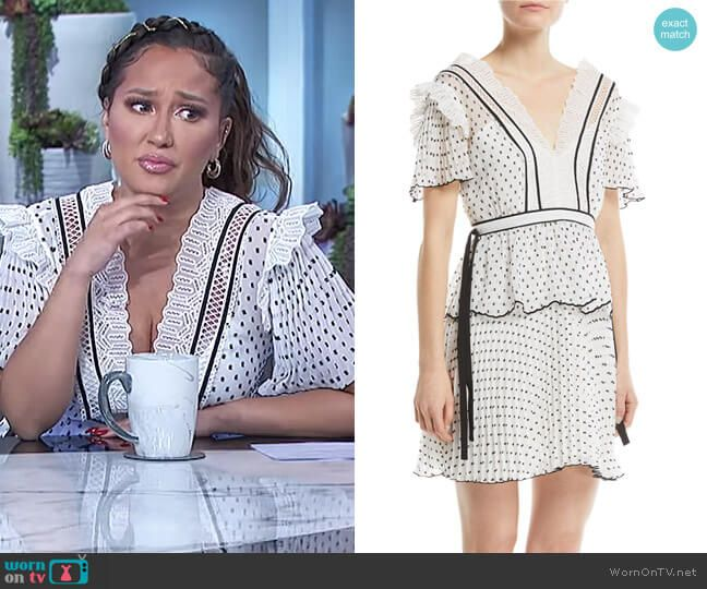 1d2eea3d778132 V-Neck Short-Sleeve Dotted Frilled Short Cocktail Dress by Self Portrait  worn by Adrienne Houghton on The Real