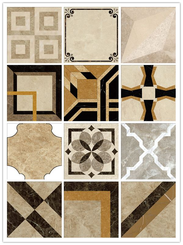 Italian waterjet beige polished marble pattern floor for Floor marble design