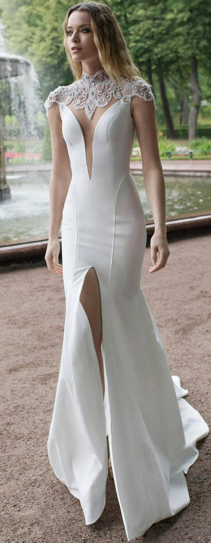 Charimg white evening dress high slit prom dress sexy mermaid white