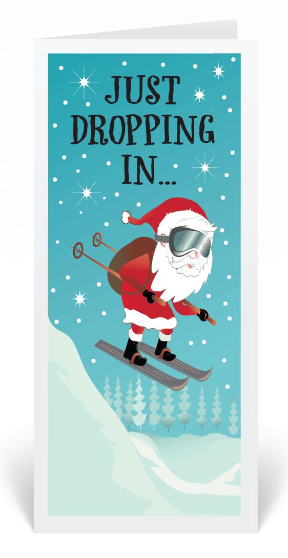 Skiing Santa Claus Cartoon Christmas Cards, Funny Cartoon Santa ...
