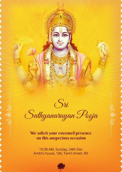 Satyanarayana Swamy Pooja Invitation Houswarming