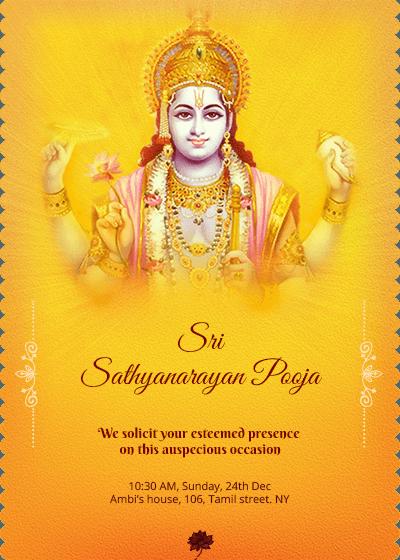 Satyanarayana Swamy pooja invitation. #houswarming #pooja ...