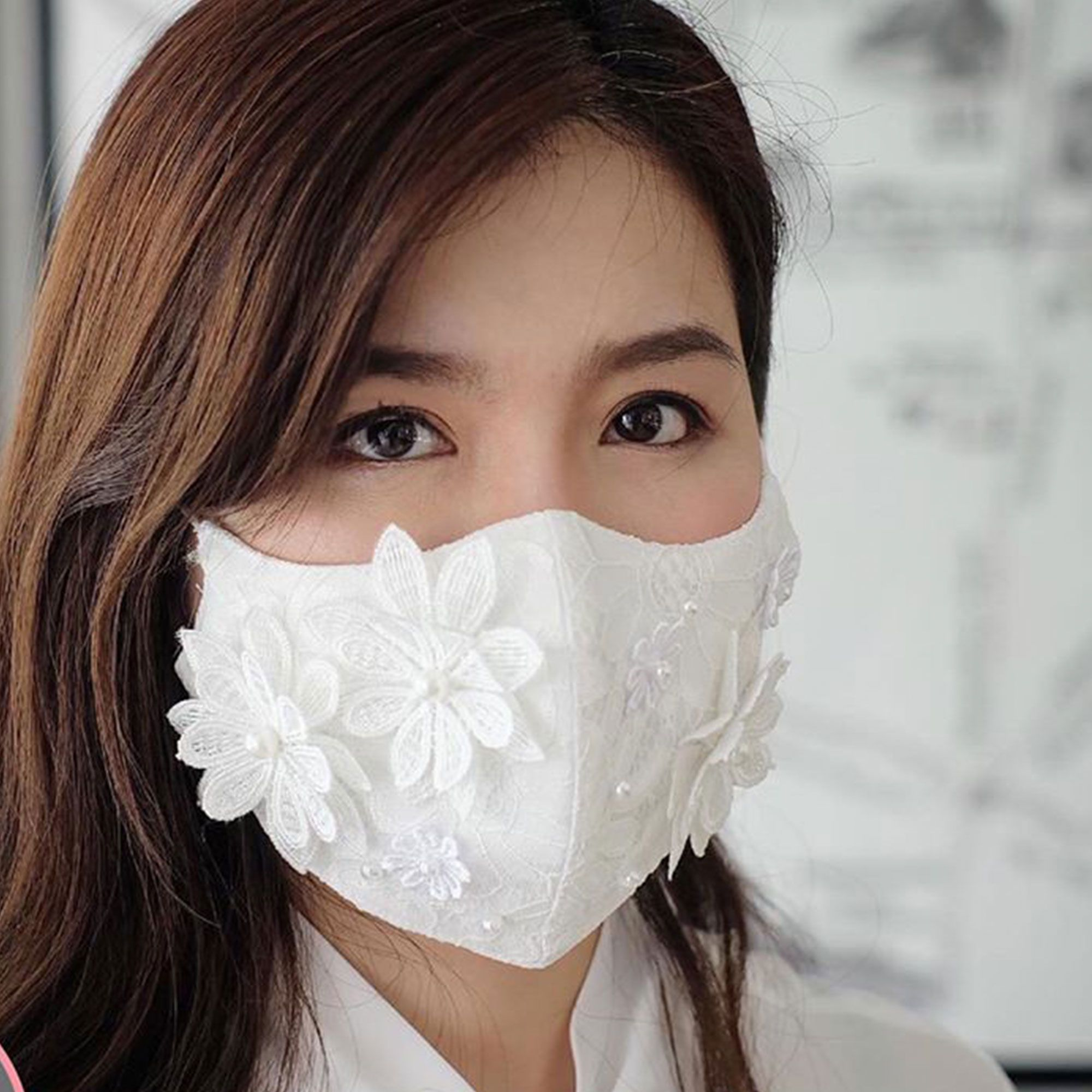 Reusable Blue Pink Floral Face Mask with Filter Pocket