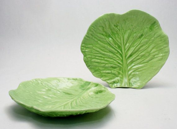 Barbara Eigen Early Cabbage Or Lettuce Leaf Studio Pottery Dishes